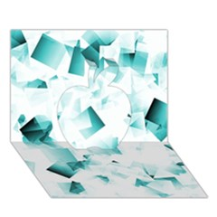 Modern Teal Cubes Apple 3d Greeting Card (7x5)  by timelessartoncanvas