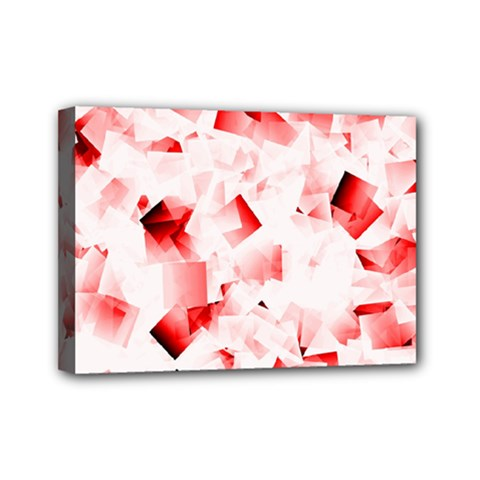 Modern Red Cubes Mini Canvas 7  X 5  by timelessartoncanvas