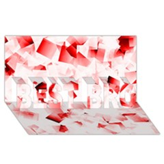 Modern Red Cubes Best Bro 3d Greeting Card (8x4)  by timelessartoncanvas