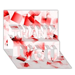 Modern Red Cubes Thank You 3d Greeting Card (7x5)  by timelessartoncanvas
