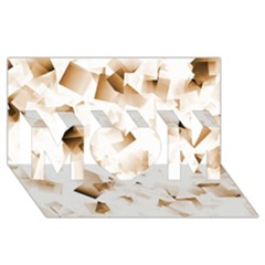 Modern Brown Cubes Mom 3d Greeting Card (8x4)