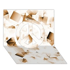 Modern Brown Cubes Peace Sign 3d Greeting Card (7x5)  by timelessartoncanvas