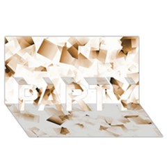 Modern Brown Cubes Party 3d Greeting Card (8x4)  by timelessartoncanvas