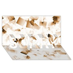 Modern Brown Cubes Sorry 3d Greeting Card (8x4)  by timelessartoncanvas
