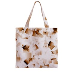 Modern Brown Cubes Zipper Grocery Tote Bag by timelessartoncanvas