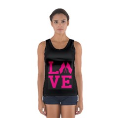 Colorguard Love In Hot Toss Pink Sport Tank Top  by GalaxySpirit