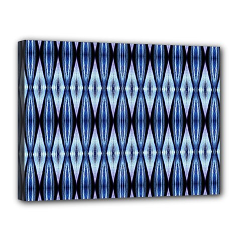 Blue White Diamond Pattern  Canvas 16  X 12  by Costasonlineshop