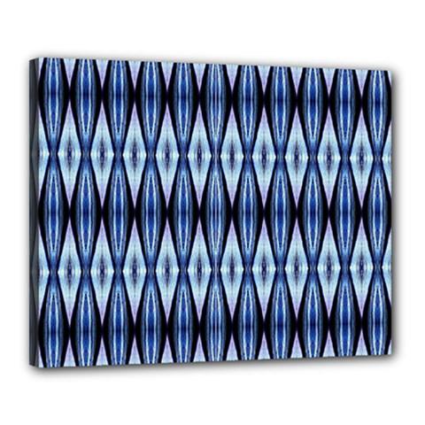 Blue White Diamond Pattern  Canvas 20  X 16  by Costasonlineshop