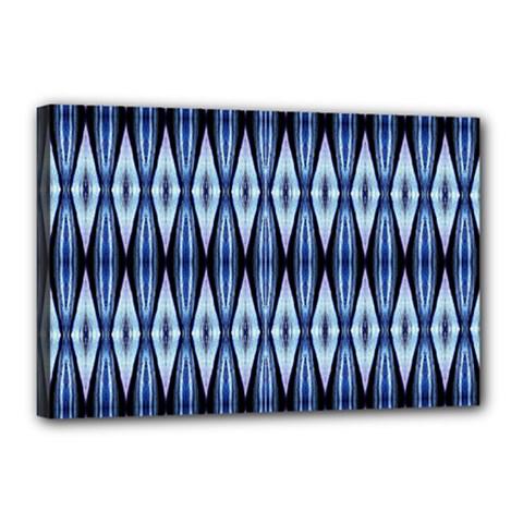 Blue White Diamond Pattern  Canvas 18  X 12  by Costasonlineshop