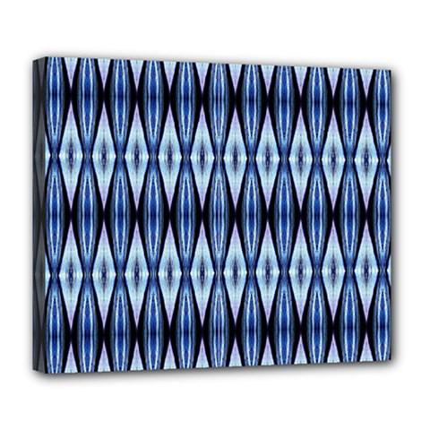 Blue White Diamond Pattern  Deluxe Canvas 24  X 20