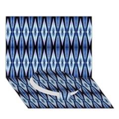 Blue White Diamond Pattern  Circle Bottom 3d Greeting Card (7x5)  by Costasonlineshop