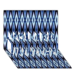 Blue White Diamond Pattern  You Are Invited 3d Greeting Card (7x5)