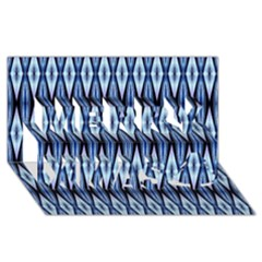 Blue White Diamond Pattern  Merry Xmas 3d Greeting Card (8x4)