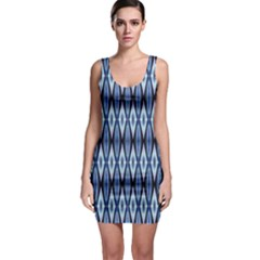 Blue White Diamond Pattern  Sleeveless Bodycon Dress by Costasonlineshop