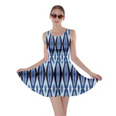 Blue White Diamond Pattern  Skater Dress