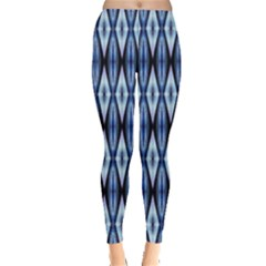 Blue White Diamond Pattern  Leggings  by Costasonlineshop