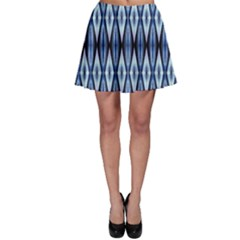 Blue White Diamond Pattern  Skater Skirt