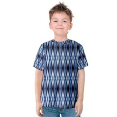 Blue White Diamond Pattern  Kid s Cotton Tee