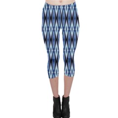 Blue White Diamond Pattern  Capri Leggings  by Costasonlineshop