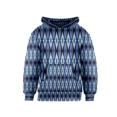 Blue White Diamond Pattern  Kids  Pullover Hoodie