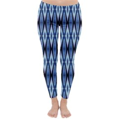 Blue White Diamond Pattern  Winter Leggings  by Costasonlineshop