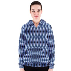 Blue White Diamond Pattern  Women s Zipper Hoodie by Costasonlineshop