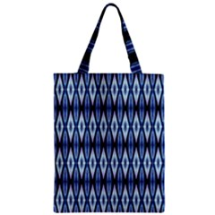 Blue White Diamond Pattern  Zipper Classic Tote Bag by Costasonlineshop