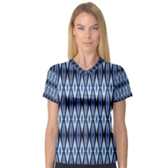 Blue White Diamond Pattern  Women s V Neck Sport Mesh Tee by Costasonlineshop