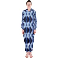 Blue White Diamond Pattern  Hooded Jumpsuit (ladies)
