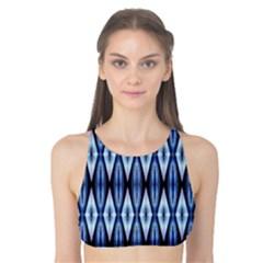 Blue White Diamond Pattern  Tank Bikini Top