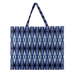Blue White Diamond Pattern  Zipper Large Tote Bag