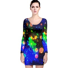 Cosmic Scenery Long Sleeve Velvet Bodycon Dress