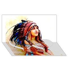Indian 22 Twin Heart Bottom 3d Greeting Card (8x4)  by indianwarrior