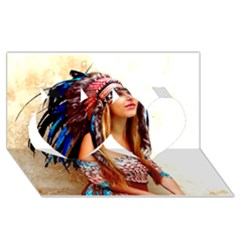 Indian 21 Twin Hearts 3d Greeting Card (8x4)  by indianwarrior