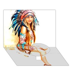Indian 18 Heart Bottom 3d Greeting Card (7x5)  by indianwarrior