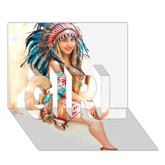 Indian 17 Girl 3d Greeting Card (7x5)