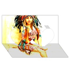 Indian 16 Twin Hearts 3d Greeting Card (8x4)  by indianwarrior