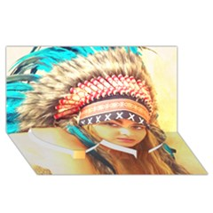 Indian 14 Twin Heart Bottom 3d Greeting Card (8x4)  by indianwarrior