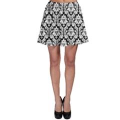 Black & White Damask Pattern Skater Skirt by Zandiepants