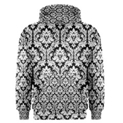 White On Black Damask Men s Pullover Hoodie by Zandiepants