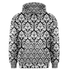 White On Black Damask Men s Zipper Hoodie by Zandiepants
