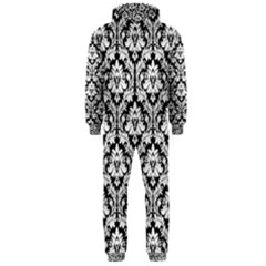White On Black Damask Hooded Jumpsuit (men)  by Zandiepants