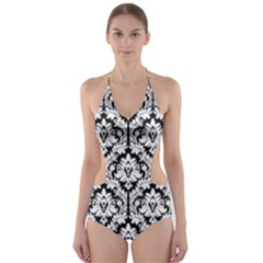 Black & White Damask Pattern Cut Out One Piece Swimsuit