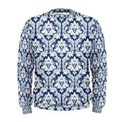 White On Blue Damask Men s Sweatshirt by Zandiepants