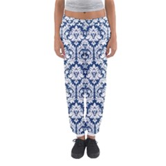 White On Blue Damask Women s Jogger Sweatpants by Zandiepants