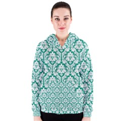 White On Emerald Green Damask Women s Zipper Hoodie by Zandiepants