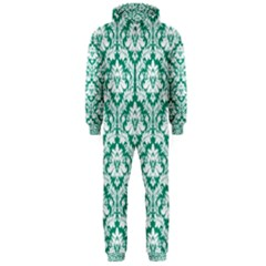 White On Emerald Green Damask Hooded Jumpsuit (men)  by Zandiepants