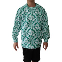 White On Emerald Green Damask Hooded Wind Breaker (kids) by Zandiepants