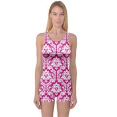 Hot Pink Damask Pattern One Piece Boyleg Swimsuit by Zandiepants