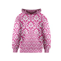 White On Hot Pink Damask Kids  Pullover Hoodie by Zandiepants